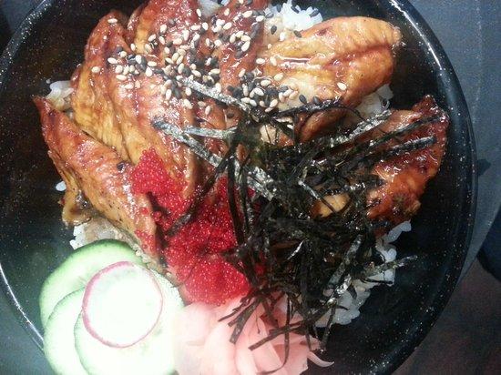 Ta-Ke Sushi: unagi (bbq eel) donburi