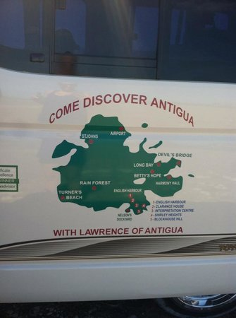Lawrence of Antigua Tours : the side of our van with all the stops we visited!