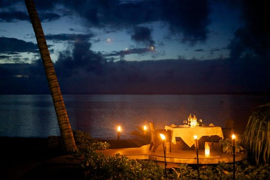 Aitutaki Escape: Our private dinner set up on the deck