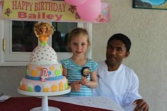 LUX* Belle Mare : Cake Boss with the Birthday Girl and Barbie cake