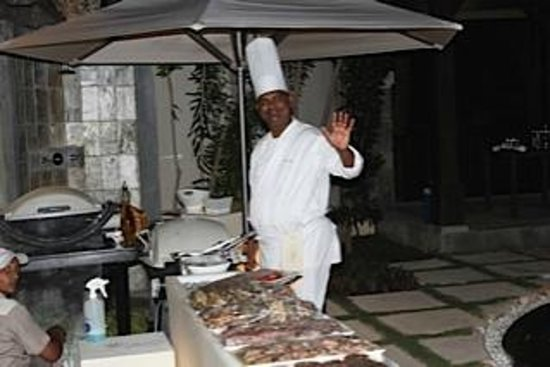 LUX* Belle Mare: Chef cooking up the Barbeque at the Villa