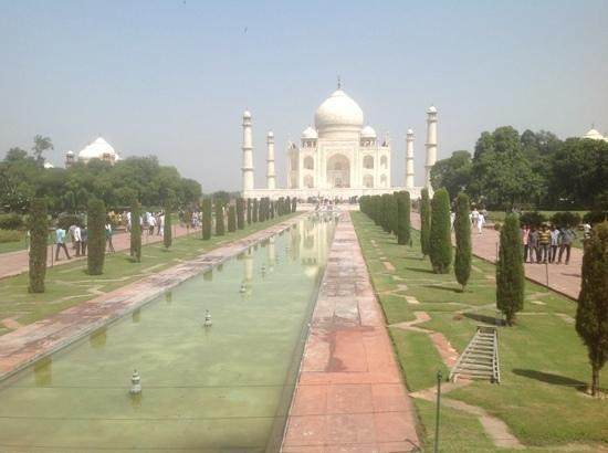 Agra, India: White marble monument .
