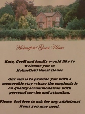Holmefield Guesthouse: greeting