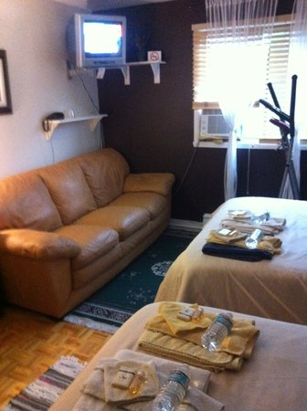 Repos & Manna B & B : Bedroom #1, w/ 2 beds, leather sofa, exercise machin, flat screen TV