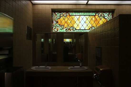 Winchester Mystery House: Stained Glass In Bathroom; Similar To Stained  Glass Inside The House