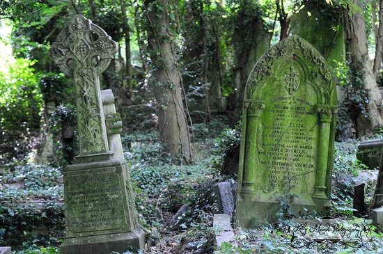 Highgate Cemetery: Tombstones from the West Cemetery tour.