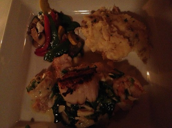 Dancing fish topped with crab meat shrimp and grilled for Crab topping for fish