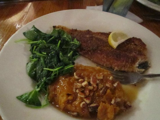 Rockfish Seafood Grill: Pecan encrusted trout.