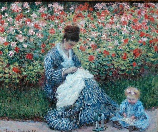 พิพิธภัณฑ์วิจิตรศิลป์: Claude Monet.  Camille Monet and a Child in the Artist's Garden in Argenteuil, 1875