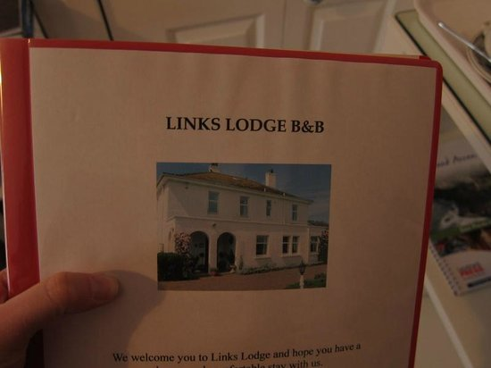 Links Lodge B & B: house booklet, great resource