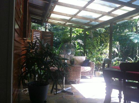 Cape Trib Farmstay B&B: where we would enjoy our breakfast/ cups of tea