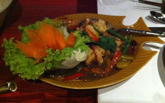 Thai Chi Restaurant - The Stanley Hotel: Excellent shrimp in pepper sauce dish.