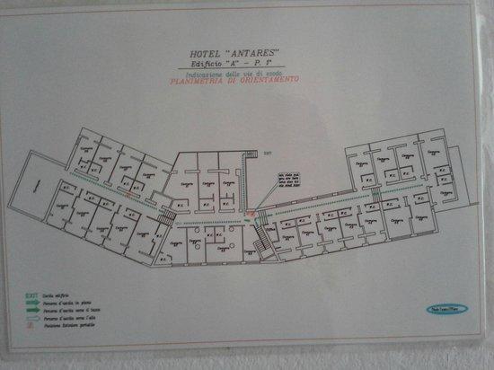 Hotel Antares: Zimmerplan Haupthaus
