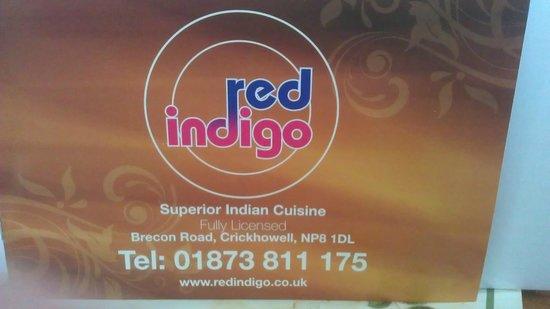 Red Indigo: Menu Cover