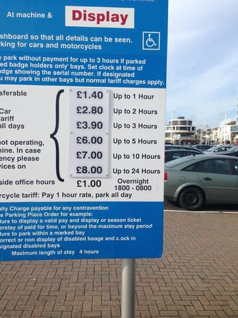 Parking rates 2013 for Hastings on the sea front near old town