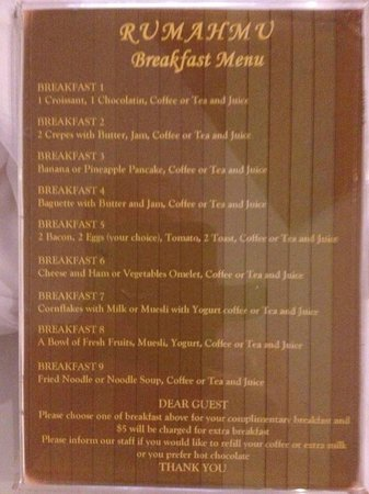 Baby Elephant Boutique Hotel : Breakfast menu selection