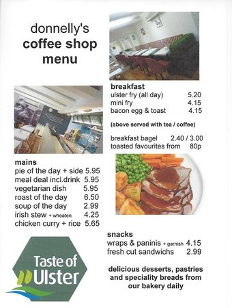Donnelly's Bakery & Coffee Shop: Coffee Shop Menu (Basic)