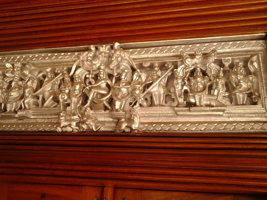 Chettinad: Silver work of Hindu deities at the Entrance of the House-Murali photo