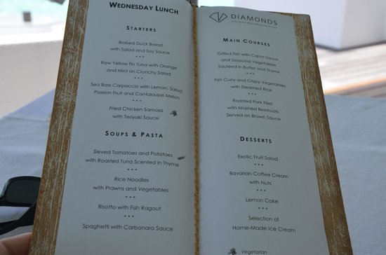 Diamonds Athuruga: Menu at WV restaurant