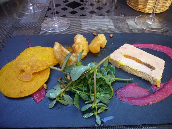L'Atelier de Fred ceret : foie gras et blinis de potimaron