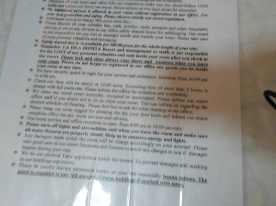 La Isla Bonita Resort : the guest letter for terms and condition 2