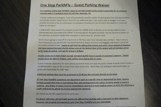 Comfort Suites  Airport: Nashville, TN Comfort Suites Airport Parking contract