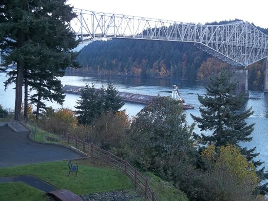 Looking West from Cascade Locks at The Bridge Of The Gods over the Columbia River.