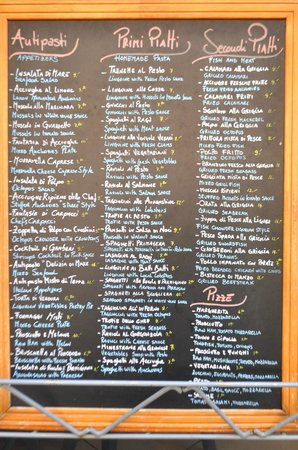 La Scogliera: The menu board - a large selection.