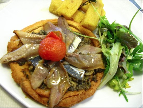 """Le Phare Restaurant : """"Emulsioned"""" anchovies. Interesting, though lacking in flavour."""