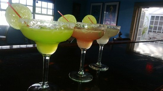 Mis Amigos : Here is a side by side by side pic of the Midori, Hibiscus and Traditional Margarita..