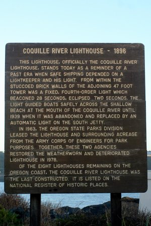 Coquille River Lighthouse Sign