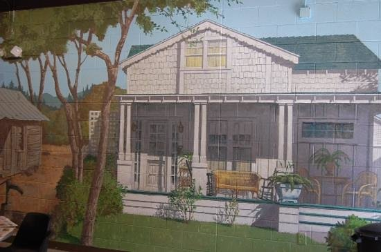 The mural downstairs at the Andy Griffith Museum