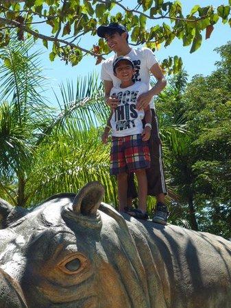 Parque Temático Hacienda Nápoles : hijos con Vera. Rinoceronte