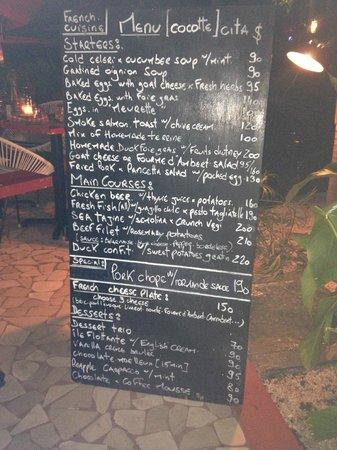 Cocotte cita menu