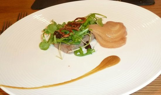 Damson : Starter: Duck rillette, confit orange puree, pickled pears, candied walnut, crispy shallots & wa