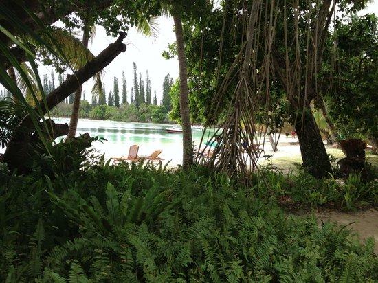 Oure Tera Beach Resort: La baie de Kanumera vue du bar
