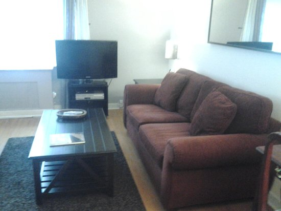 Shadyside Inn All Suites Hotel: Large Couch and TV in Living Space