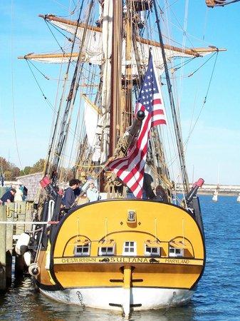 Schooner Sultana: Sultana's stern, Downrigging Weekend 2008