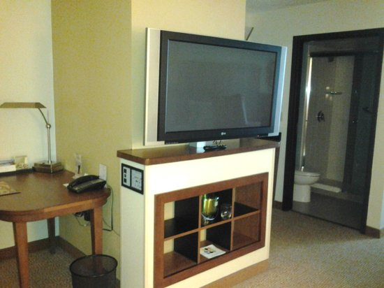 Hyatt Place Pittsburgh/Airport: Large Shared TV Between Bedroom and Living Room