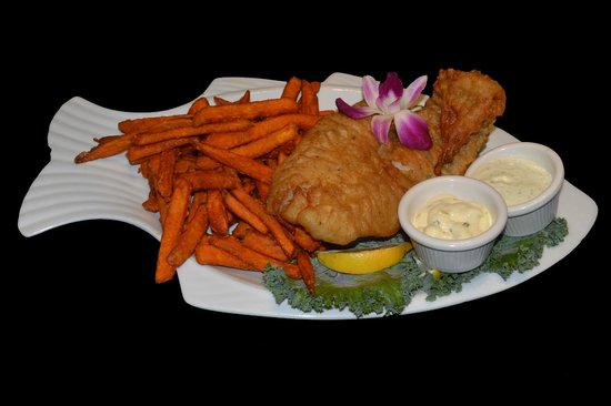 Sea bass picture of fish tale grill by merrick seafood for Fish tales cape coral