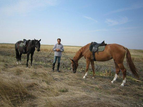 Hortobagy National Park: 左端はホースマンの馬、右が私の馬です。