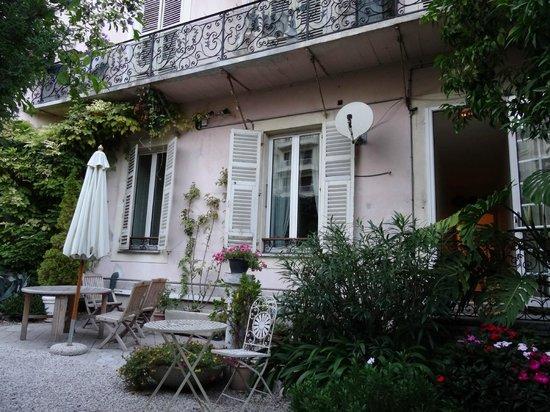 Part of the lovely garden at Nice Garden Hotel.