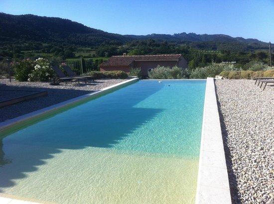 Patios des Vignes: la piscine avec vue sur les dentelles