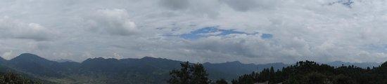 Daman, Nepal: Snow peaks as viewd from open terrace beside room