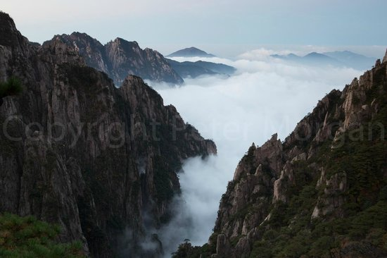 Mt. Huangshan (Yellow Mountain): View from Cloud Dispelling Pavilion at dawn