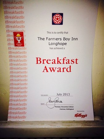 The Farmers Boy Inn: Breakfast Award