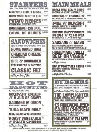 The Lamplighter: Back of menu