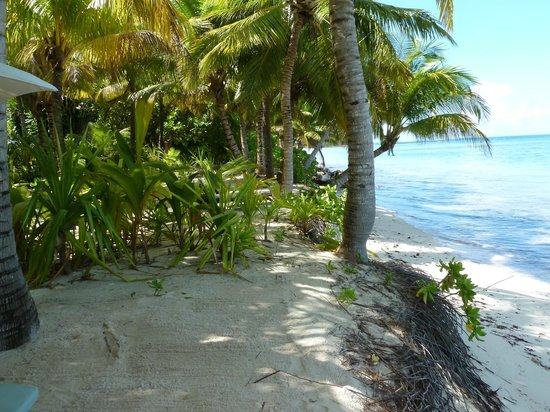 """Desroches Island: """"Beach"""" at Suites. Not much left there."""
