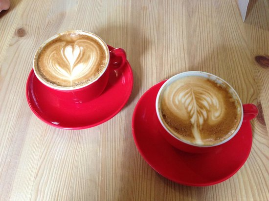 Strangers with coffee : Our second helping of flat whites - too good to just have one!