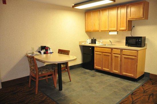 Hampton Inn Boston-Logan Airport: Nice kitchen area with refrigerator and microwave